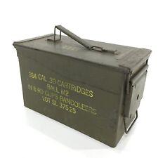 VTG Army Military Ammo Box 384 Cal .30 Cartridges Bandoleers Storage Man Cave