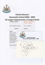 PATRICK KLUIVERT NEWCASTLE UTD 2004-2005 ORIGINAL HAND SIGNED CUTTING/CARD