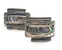 Vintage Sterling Silver Earrings 925 Abalone Shell Screw Back