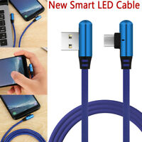 90 Degree Right Angle Fast Charging Cable Type C Micro USB LED Data Sync