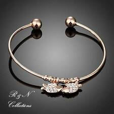 18K Rose Gold Plated Fish In Love Made With Swarovski Crystal Charm Bangle B553