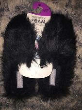 PRIMARK FAUX FUR SLIPPERS BLACK SIZE 5-6 MEMORY FOAM NEW XMAS GIFT