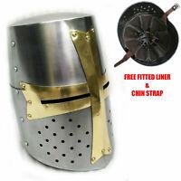Medieval Knight Armor Crusader Templar Helmet Helm with Mason's Brass Cross