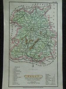 Small Hand Coloured County Georgian Map of Salop (1824) Shropshire,  England