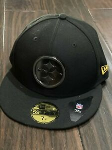 Pittsburgh Steelers New Era 59Fifty Tonal All Black Logo 7 1/8 Fitted Cap Hat