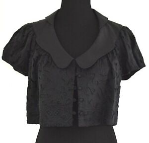 Robert Rodriguez Embroidered Short sleeve button Down Cropped Black Top Sz 8