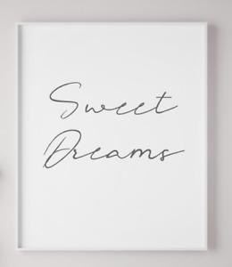 Sweet Dreams Typography Poster Print Nursery Kids Playroom A4 PR09