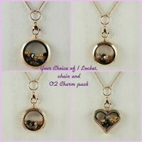 Floating Locket Rose Gold w/Chain & 24pc Origami Owl Charm Sparkly Crystals Pack