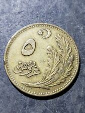 1923 TURKEY 5 KURUS Coin Early Ataturk Period