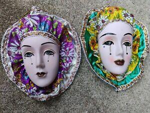 "Two Porcelain 7"" Mardi Gras Wall Masks"