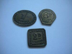 Barnsley, Yorkshire, 3 x British Co-op tokens, Shilling, Sixpence, Two-pence