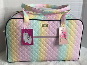 LUV BETSEY JOHNSON Weekender Tote Duffel Bag Quilted Rainbow Hearts NWT
