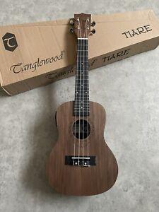 Superb Black Walnut Concert Electro Acoustic ukulele arched back + tuner