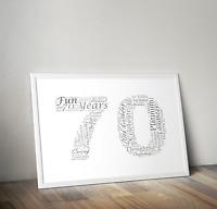 Personalised 70th Birthday Gift - Seventieth - Number Seventy 70 Word Art Print