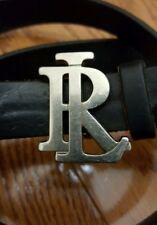 Polo Ralph Lauren Black Leather Belt Rl Monogram Buckle Size 28 Vtg
