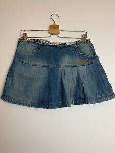Nikita Vintage 90s 00s Y2K Blue Pleated Cotton Denim Mini Skirt Size Waist 28 S