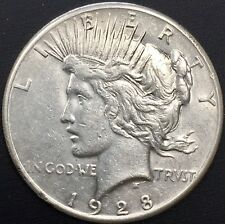 1928 - P PEACE SILVER DOLLAR RARE XF+ DETAILS KEY DATE COIN