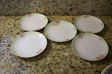 NIPPON HAND PAINTED BREAD AND BUTTER - DESSERT 5 PLATES WHITE GREEN WITH PINK