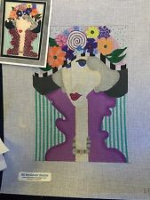needlepoint hand painted canvas BB     Lady/Flower Hat    Stitch guide included
