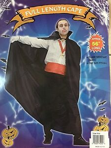 """Deluxe Quality Full Length Poly Dracula Gothic Cape w/Collar 56"""" Black New"""