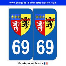 Stickers pour plaque département 69 Rhône (jeu de 2 stickers) blason