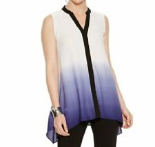 Alfani Top Sz 10 Violet Ombre Sleeveless Button Down Business Casual Blouse Top
