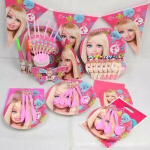 Barbie Girl Dolls Pink Kids Birthday Party Supplies Tableware Set Decorations UK