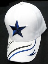 Dallas Cowboys White Hat Cap Embroidered Blue Star Logo Curvy Lines Brim