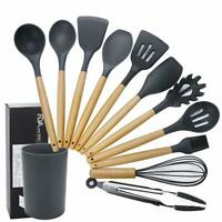 11 Pcs Silicone Cooking Utensils with Wood Handles Nonstick Cookware AU FAST