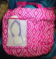 Claire's Neon Pink w/ White Aztec Print Tote Bag Beach Swim Waterproof Pouch New