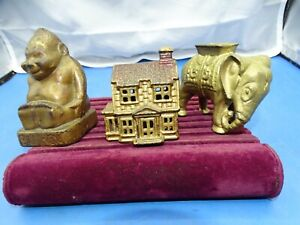 3  Antique Cast Iron Coin banks Elephant, old House, Billiken Buddha