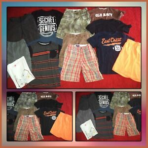 HUGE LOT~BOYS SUMMER CLOTHES SHIRTS & CARGO SHORTS OLD NAVY MICROS SIZE 10-12
