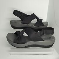 Clarks Cloudsteppers Womens 6.5 M Arla Primrose Bow Wedge Sandals Black Shoes
