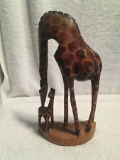 Hand Carved Wooden Mother Giraffe And Baby Figurine Tribal Art African Kenya