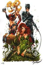 Jamie Tyndall SIGNED Batman Comic Art Print ~ Harley Quinn Catwoman Poison Ivy