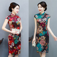 Chinese Qipao Women Gambiered Canton Gauze Cheongsam Summer Midi Dress Sz M-3XL