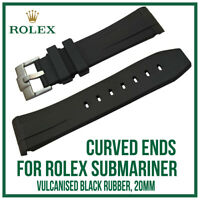 ♕ Black Curved End Rubber Silicone Watch Strap, Exact Fit For Rolex Submariner ♕