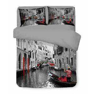 COPRIPIUMINO Rasatello HD FOTOGRAFICO VENEZIA Gondola Matrimoniale cm. 250x200