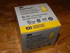 (100) 3M HIGHLAND H-33 INSULATED ELECTRICAL WIRE CONNECTORS SIZE 74B NUTS YELLOW