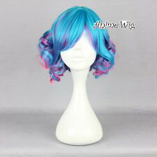 Lolita Short Curly Blue Mixed Multi Color Beautiful Style Women Lady Cosplay Wig