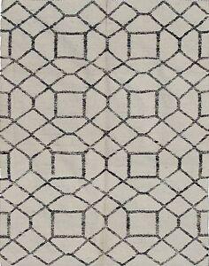 Modern Floor Rugs Moroccan Tile design Handmade Handwoven Kelim Wool Rug 5x8 ft