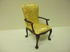 Quality 1/12th  Dolls House Furniture   Mahogany Gilt Chair   04053