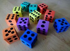 """Lot of 12 Assorted Colored Foam Dice 1.5"""" D6 Gaming Casino"""