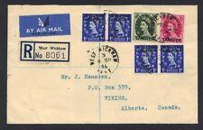 Uk Gb 1956 Franked Morocco Agencies Registered West Wickham To Alberta Canada