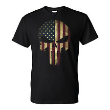 American Flag Patriotic Punisher Skull Distressed Men's T-Shirt Ready to ship!
