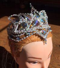 Pro Ballet Tiara Headpiece Silver AB Crystal Blue Aqua Bird Cinderella Fairy NEW