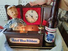 Vintage Pbr Pabst Blue Ribbon Beer Bartender Metal Bar Light Up Clock Sign