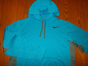 NIKE THERMA-FIT BLUE HOODED SWEATSHIRT MENS LARGE EXCELLENT CONDITION