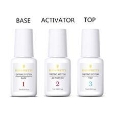 3Pcs BORN PRETTY 7ml Nail Art Dipping Powder System Liquid Clear Top Base Coat