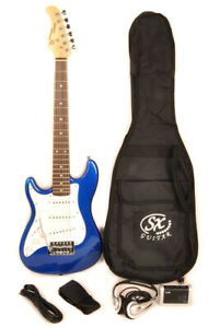 SX RST 1/2 EB Blue Left Handed Electric Guitar Package 1/2 Size w/Strap and Bag